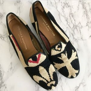 Stubbs & Wootton needlepoint slippers fleur de lis